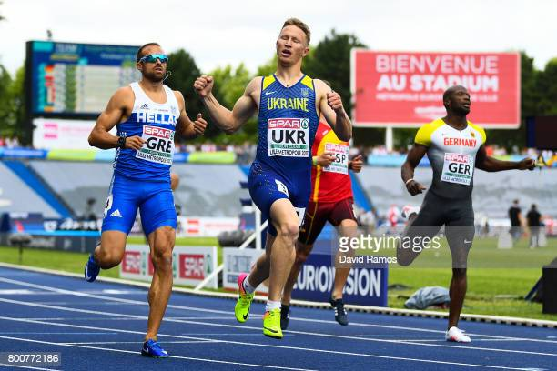 Serhiy Smelyk of Ukraine after winning in the Men's 200m Final during day three of the European Athletics Team Championships at the Lille Metropole...