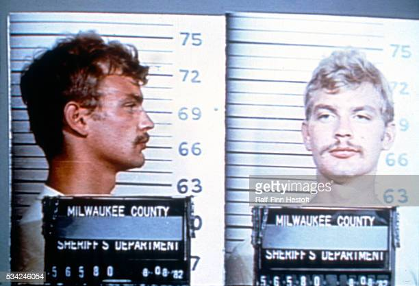 Serial killer Jeffrey Dahmer shown in a police mug shot from his 1982 arrest at the Wisconsin State Fair for indecent exposure