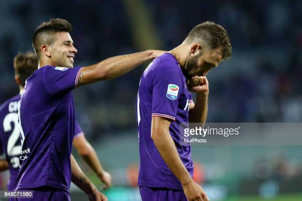 Serie A Fiorentina v Bologna German Pezzella of Fiorentina and Giovanni Simeone of Fiorentina celebration after the decisive goal of 21 at Artemio...