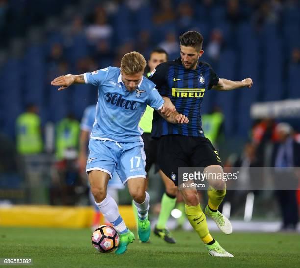 Serie A Lazio v Inter Ciro Immobile of Lazio and Roberto Gagliardini of Internazionale at Olimpico Stadium in Rome Italy on May 21 2017