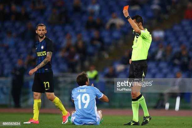 Serie A Lazio v Inter Senad Lulic of Lazio receiving a red card by the referee Di Bello at Olimpico Stadium in Rome Italy on May 21 2017