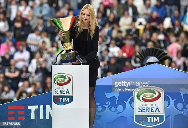 Serie A trophy is displayed during the Serie A match between Juventus FC and UC Sampdoria at Juventus Arena on May 14 2016 in Turin Italy