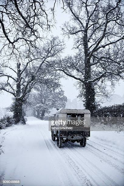 Series 1 Land Rover In The Snow