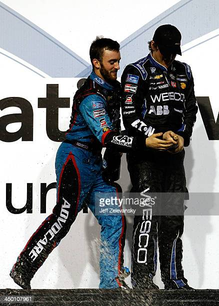 Series champion Austin Dillon driver of the AdvoCare Chevrolet celebrates with his brother Ty Dillon driver of the WESCO Chevrolet in Champions...