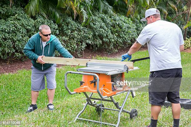 Series: Construction cutting wood for door frame with table saw