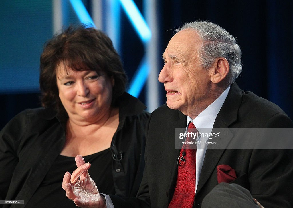 Series Creator & Executive Producer Susan Lacy and Actor/Director/Writer Mel Brooks of 'AMERICAN MASTERS 'Mel Brooks: Make a Noise' ' speak onstage during the PBS portion of the 2013 Winter Television Critics Association Press Tour at the Langham Huntington Hotel & Spa on January 14, 2013 in Pasadena, California.