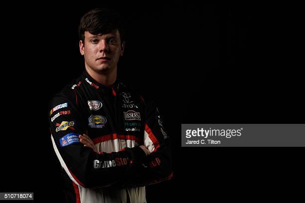 Series driver Erik Jones poses for a portrait during NASCAR Media Day at Daytona International Speedway on February 16 2016 in Daytona Beach Florida