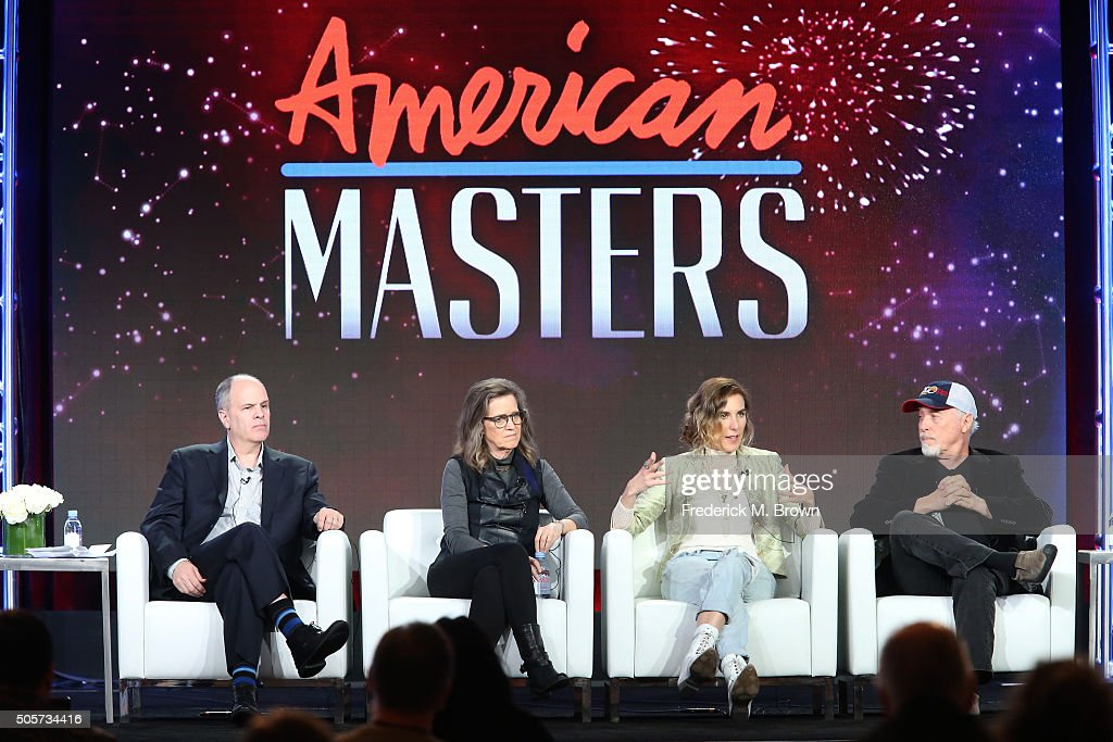 Series executive producer Michael Kantor Laura Joplin filmmaker Amy Berg and drummer Dave Getz Big Brother and the Holding Company speak onstage...