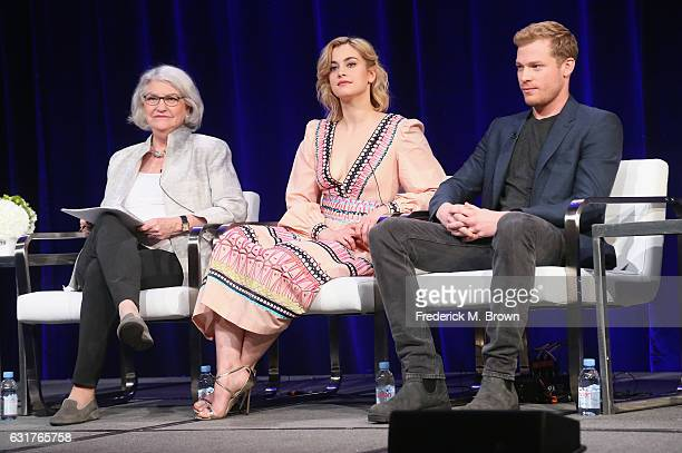 "Series executive producer Rebecca Eaton actor Sam Reid and actress Stefanie Martini of '""Prime Suspect Tennison"" on MASTERPIECE' speak onstage during..."