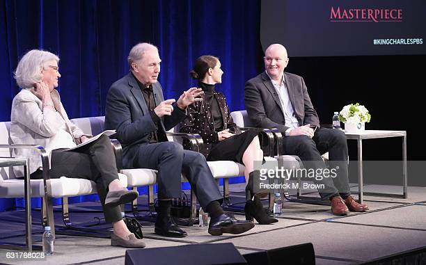 """Series executive producer Rebecca Eaton actor Tim PigottSmith actress Charlotte Riley and writer Mike Bartlett of '""""King Charles III"""" on MASTERPIECE'..."""