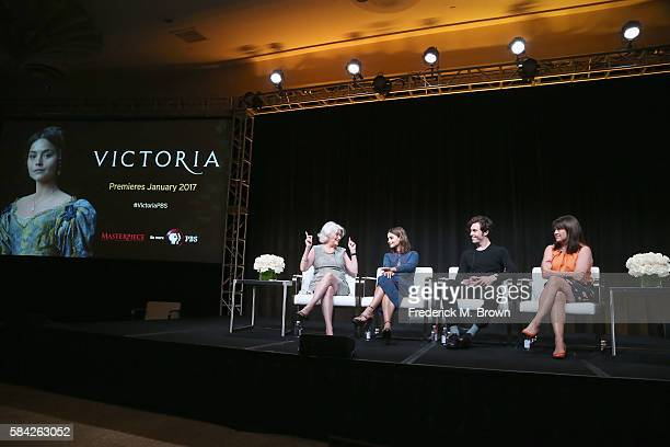 Series executive producer Rebecca Eaton actors Jenna Coleman Tom Hughes and creator/writer/executive producer Daisy Goodwin speak onstage during the...