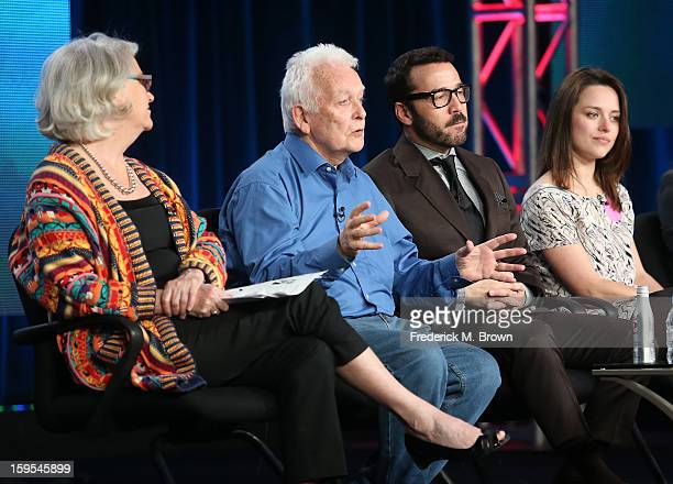 Series executive producer Rebecca Eaton writer/creator/executive producer Andrew Davies actor/producer Jeremy Piven and actress Zoe Tapper of the...