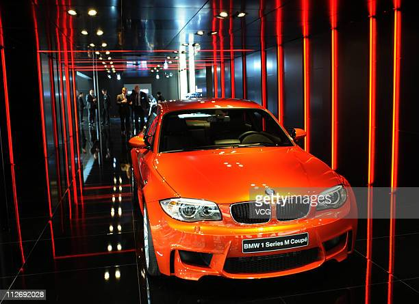 A BMW 1 Series M Coupe is displayed during the media day of the Shanghai International Automobile Industry Exhibition at Shanghai New International...