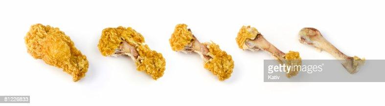 Series of chicken leg bites
