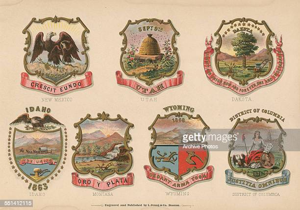 A series of color engravings of the Coats of Arms of various American states New Mexico Utah Dakota Idaho Montana Wyoming and the District of...
