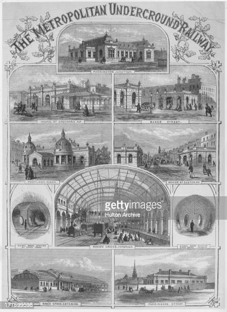 A series of drawings showing stations of the Metropolitan Underground Railway including Paddington Junction Chapel Street Baker Street Portland Road...