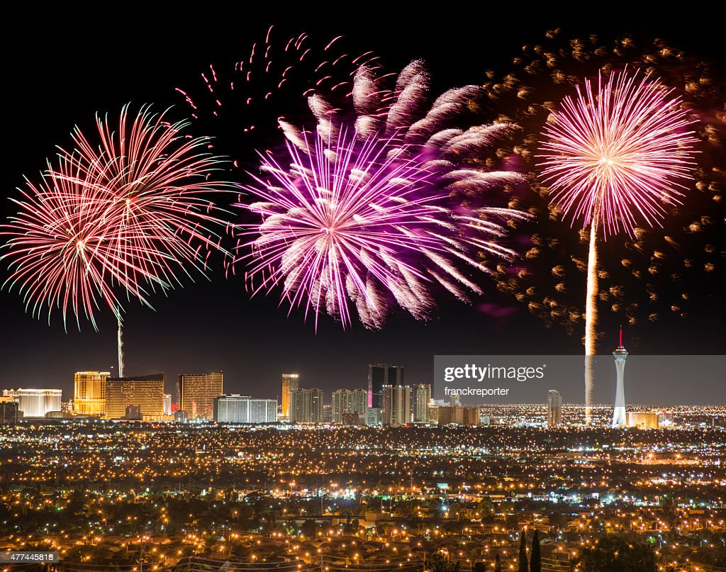 Series of fireworks in Las Vegas for a national holiday : Stock Photo