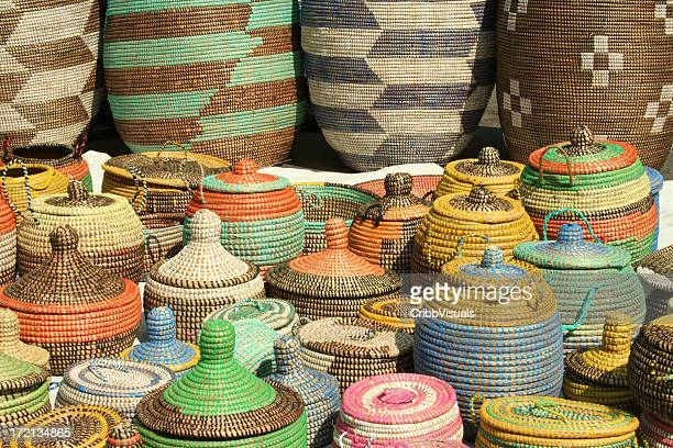 A series of hand woven African sea grass baskets