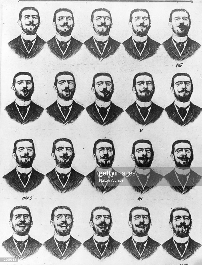 A series of images by Demeny, showing a man saying the words 'je vous aime' taken with a 'Photophone'. They were shown at the Paris Exposition Mondiale 1890, having been synchronised with sound.