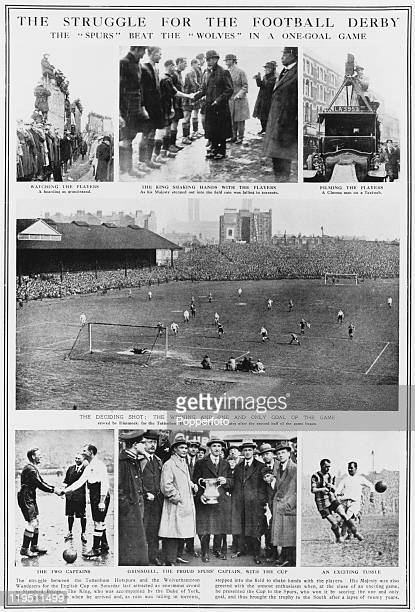A series of images depicting the 1921 FA Cup Final between Tottenham Hotspur and Wolverhampton Wanderers at Stamford Bridge London 23rd April...