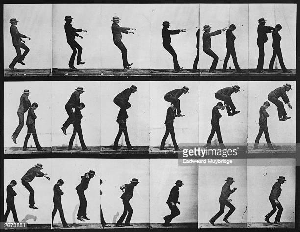 A series of images showing the various positions of a man leapfrogging over the shoulders of another The photographer is Eadweard Muybridge who...