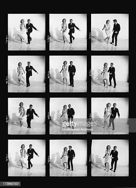 A series of photogarphs with a couple demonstrating how to dance the twist United States 1961