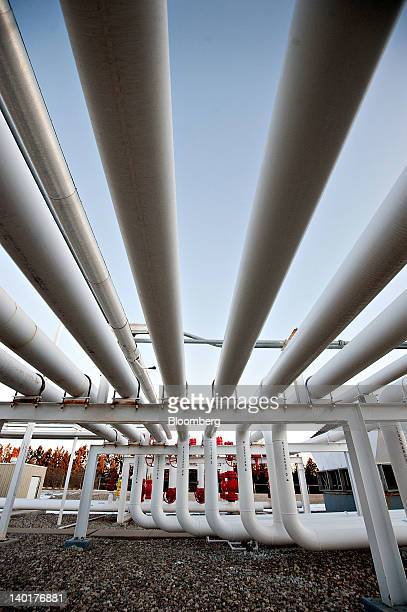 A series of pipes direct natural gas at a Williston Basin Interstate Pipeline Co a subsidiary of MDU Resources Group Inc compression station in...