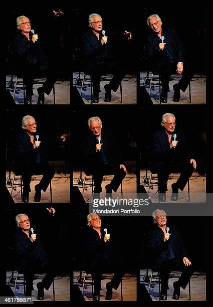 A series of shoots of the Italian singersongwriter actor and standup comedian Enzo Jannacci who sings sitting on a stool with a microphone in his...