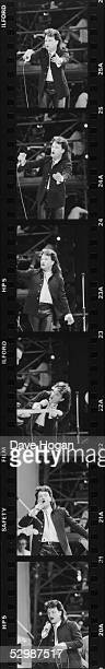 A series of six images of Irish singer Bono during U2's performance at the Live Aid charity concert Wembley Stadium London 13th July 1985