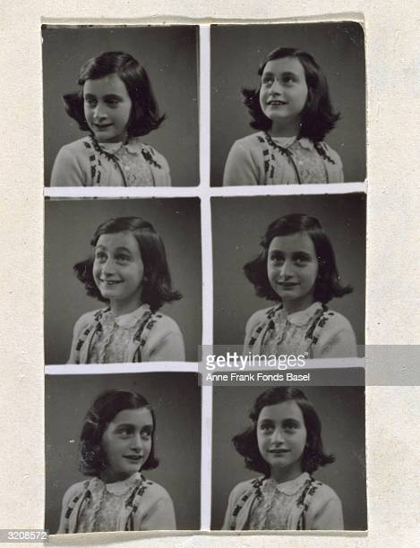 A series of six studio portraits of Anne Frank at age ten looking in different directions taken from her photo album Amsterdam Holland