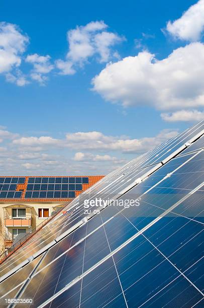 Series of solar panels arranged in a roof