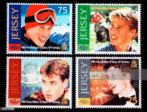 Series of stamps honoring England's Prince William on his 18th birthday showing his passion for sport polo and skiing one with a background of a...