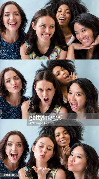 Series of women making faces in photo booth