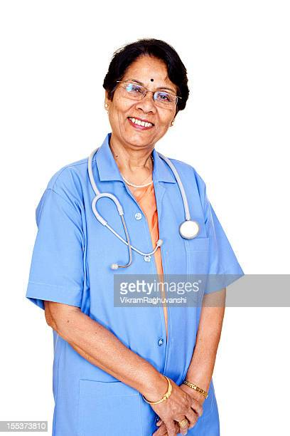 Series - One Cheerful Senior Indian Female Doctor
