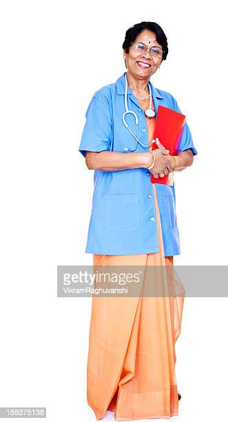 Series - Senior asian Indian Female Doctor with Medical Report