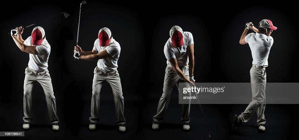 Series Shot of Man Swinging Golf Club on Black : Stock Photo