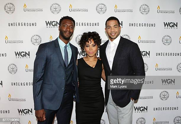 Series stars Aldis Hodge Amirah Vann and Alano Miller pose prior to WGN America's exclusive screening and panel discussion of 'Underground' at the...
