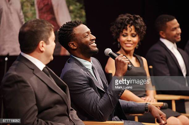 Series stars Aldis Hodge Amirah Vann and Alano Miller speak during WGN America's exclusive screening and panel discussion of 'Underground' at the...