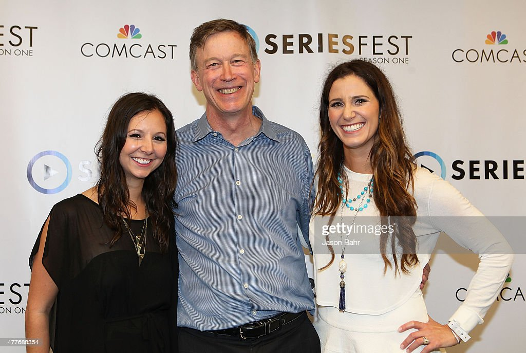 SeriesFest CEO Randi Kleiner, Colorado Governor <a gi-track='captionPersonalityLinkClicked' href=/galleries/search?phrase=John+Hickenlooper&family=editorial&specificpeople=4104050 ng-click='$event.stopPropagation()'>John Hickenlooper</a>, and SeriesFest COO Kaily Smith arrive during the opening night of SeriesFest at Red Rocks Amphitheatre on June 18, 2015 in Morrison, Colorado.