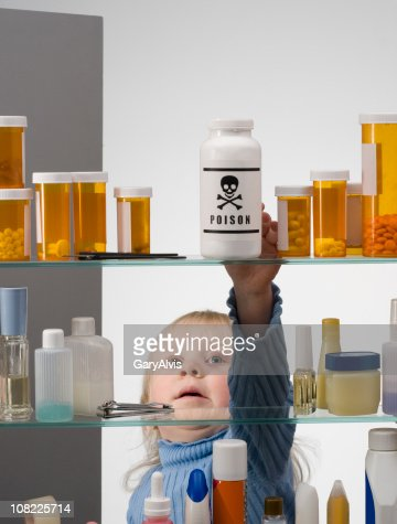 CHILD SAFETY SERIES #1-Little Girl Reaching Into Medicine Cabinet