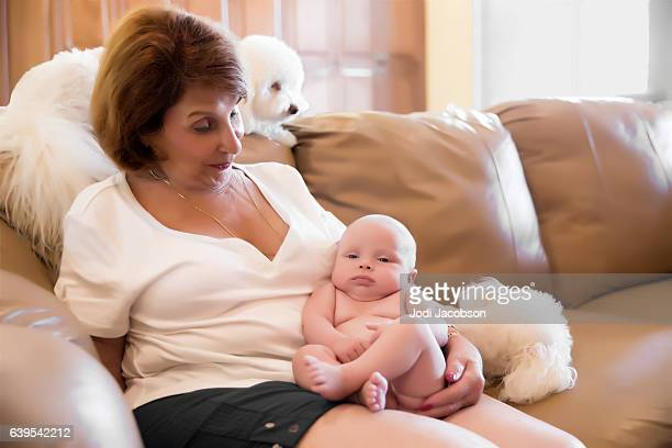 Series:Proud grandmother holds six week old naked grandson with dogs