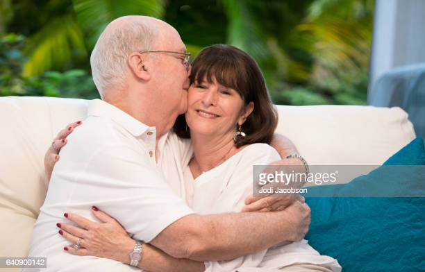 Series:Senior tender moment. Loving couple embracing. With clipping path