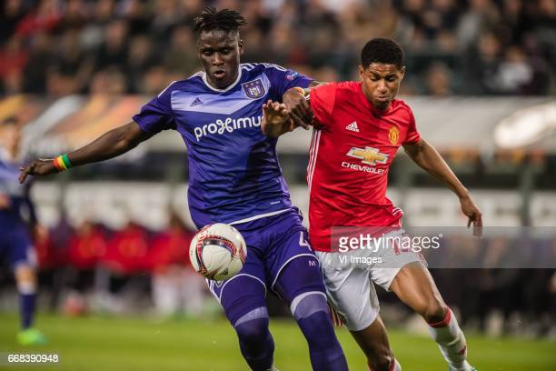 Serigne Mbodj of RSC Anderlecht Marcus Rashford of Manchester Unitedduring the UEFA Europa League quarter final match between RSC Anderlecht and...