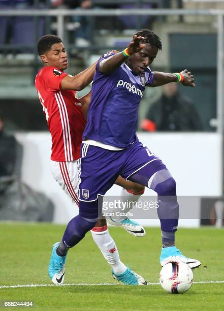 Serigne Mbodji aka Kara Mbodj of Anderlecht and Jesse Lingard of Manchester United in action during the UEFA Europa League quarter final first leg...