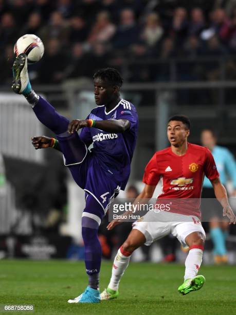 Serigne Mbodji of Anderlecht in action during the UEFA Europa League quarter final first leg match between RSC Anderlecht and Manchester United at...