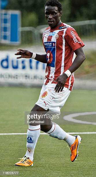 Serigne Modou Kara Mbodj of Tromso IL in action during the Norwegian Tippeligaen match between Tromso IL and Stabaek Fotball held on June 26 2011 at...