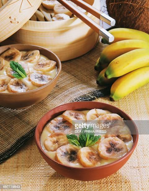 Serikaja dessert made from bananas eggs and coconut milk Indonesia