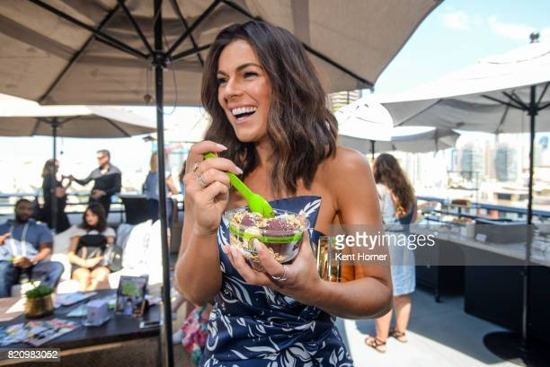 Serinda Swan enjoying a Sambazon Acai Bowl in the EW Studio at San Diego Comic Con on July 20 2017 in San Diego California