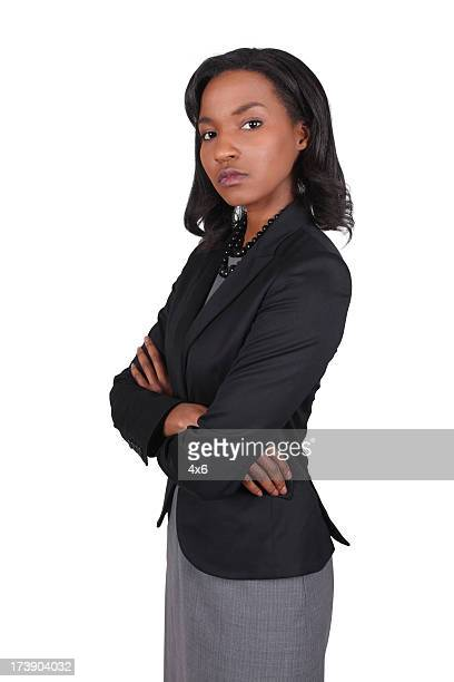 Serious African American Business Woman Folding Arms