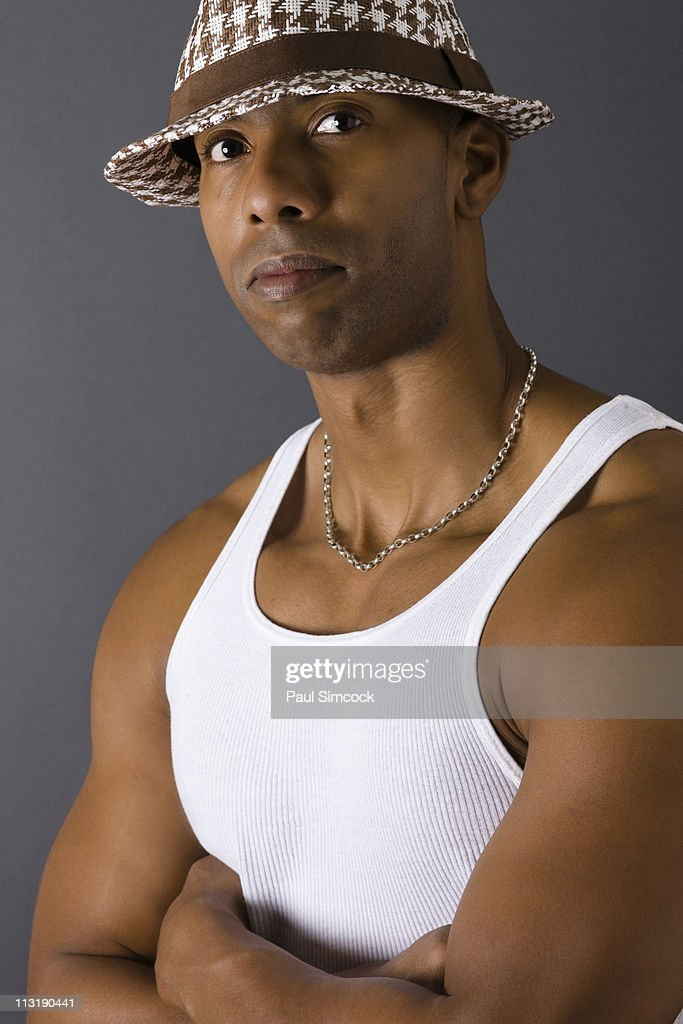 Serious African American man in tank-top : Stock Photo